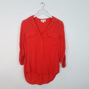 CLOTH & STONE High Low Button Down Blouse Small